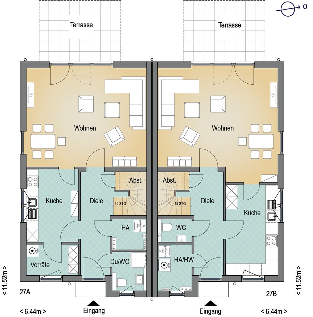 neubau von zwei doppelh usern in l beck kiebitzhof. Black Bedroom Furniture Sets. Home Design Ideas
